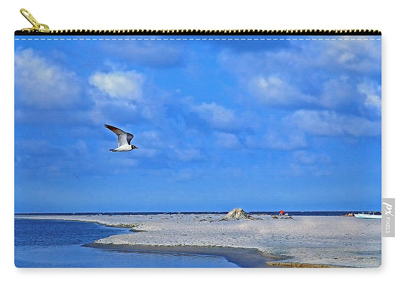Seagull Carry-all Pouch featuring the photograph Sandbar Bliss by Marie Hicks