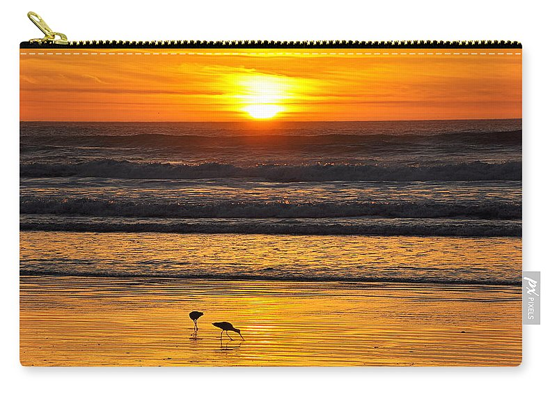 Scenic Carry-all Pouch featuring the photograph Sandpipers At Sunset by AJ Schibig