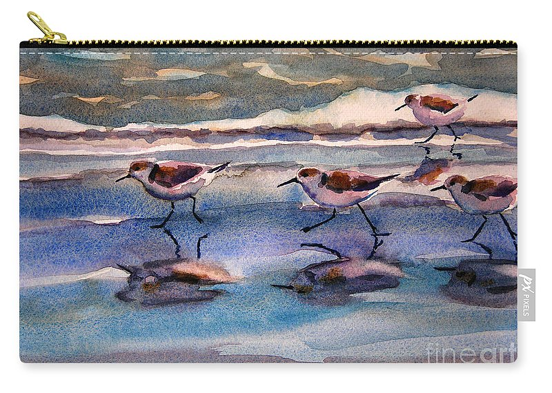 Fine Art Carry-all Pouch featuring the painting Sandpipers Running In Beach Shade 3-10-15 by Julianne Felton