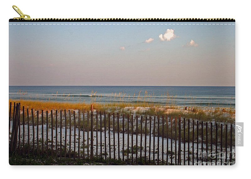 Water Carry-all Pouch featuring the photograph Sandy Beach And Three Tiny Clouds by Karen Adams