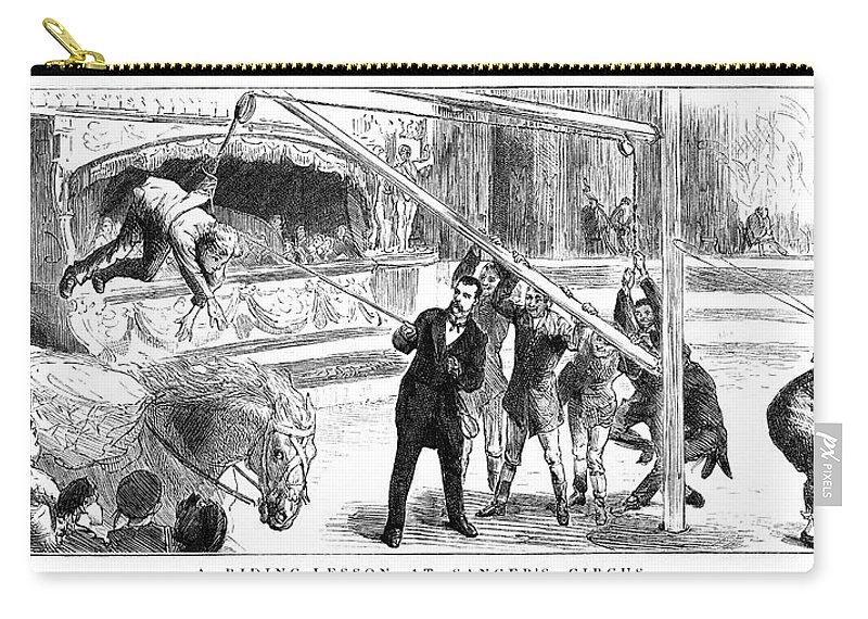 1884 Carry-all Pouch featuring the painting Sanger's Circus, 1884 by Granger