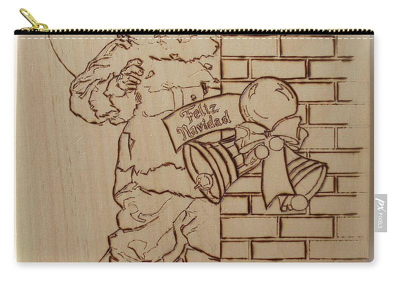 Pyrography Carry-all Pouch featuring the pyrography Santa Claus - Feliz Navidad by Sean Connolly