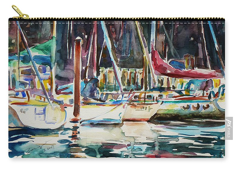Watercolour Carry-all Pouch featuring the painting Santa Cruz Dock by Xueling Zou
