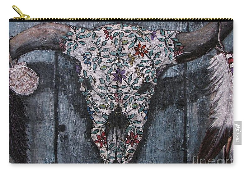 Bull Skull Carry-all Pouch featuring the painting Santa Fe Bull Skull by Marilyn Sahs