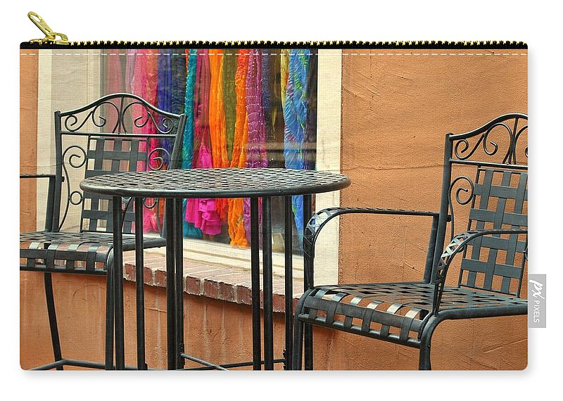 Colorful Shawls Carry-all Pouch featuring the photograph Santa Fe Cafe And Boutique by Diana Angstadt