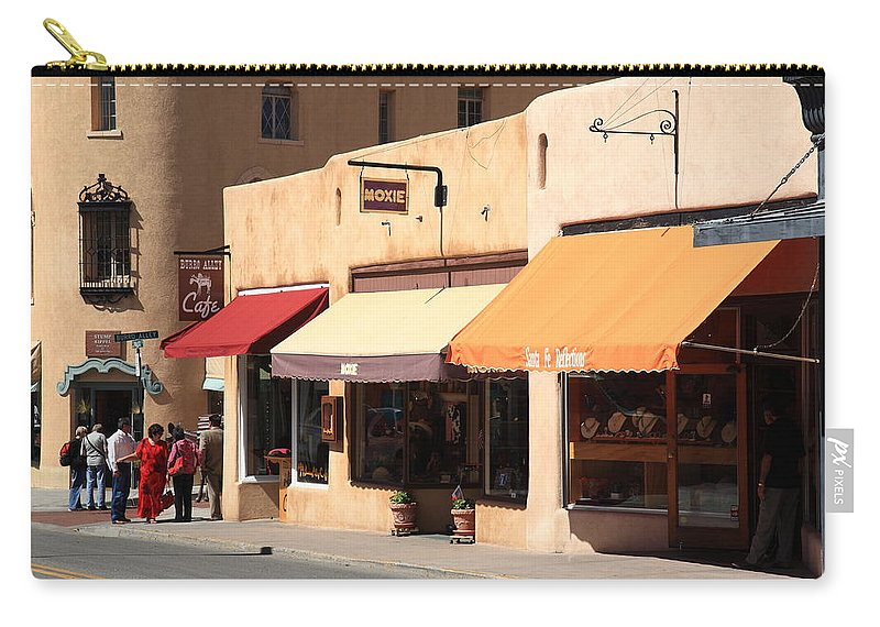 Adobe Carry-all Pouch featuring the photograph Santa Fe Shops by Frank Romeo