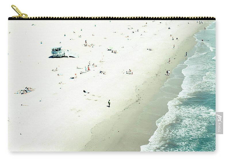 Water's Edge Carry-all Pouch featuring the photograph Santa Monica Beach by Angela Auclair