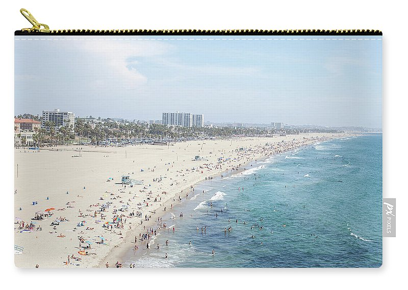 Crowd Carry-all Pouch featuring the photograph Santa Monica Beach by Tuan Tran