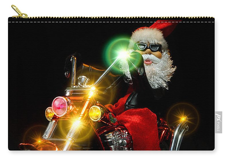 Bike Carry-all Pouch featuring the photograph Santa Motoring by Christopher Holmes