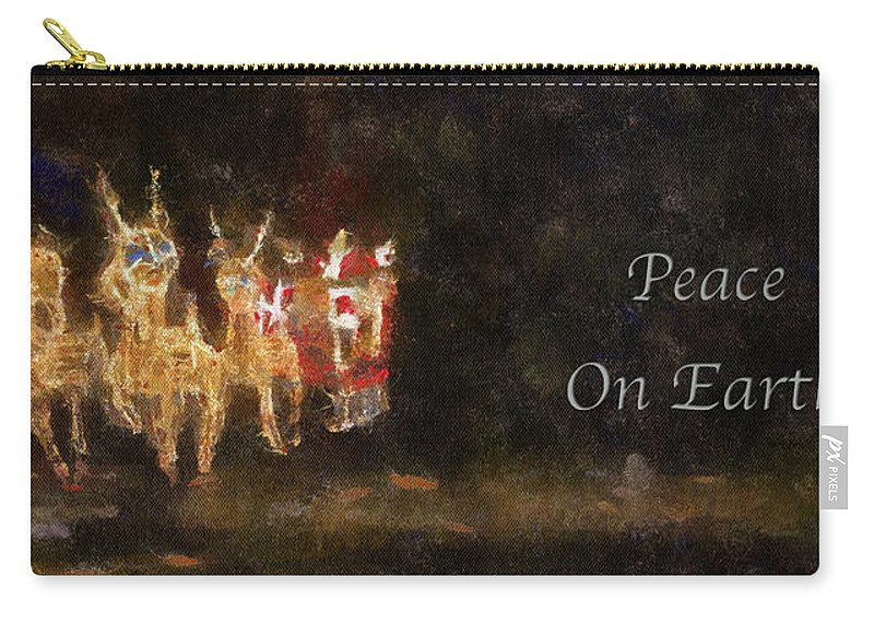 Christmas Carry-all Pouch featuring the photograph Santa Peace On Earth Photo Art 01 by Thomas Woolworth