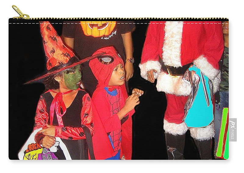 Santa Trick Or Treaters Costumes Halloween Party Casa Grande Arizona 2005 Carry-all Pouch featuring the photograph Santa Trick Or Treaters Halloween Party Casa Grande Arizona 2005 by David Lee Guss