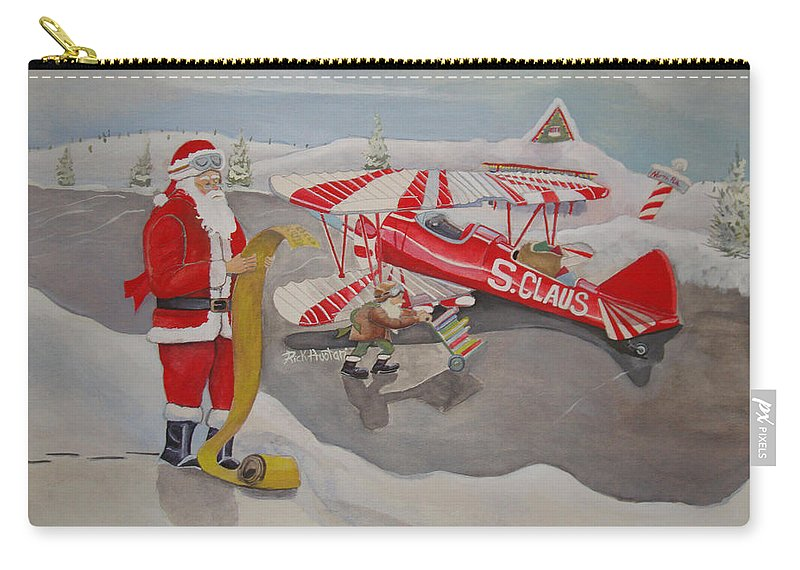 Rick Huotari Carry-all Pouch featuring the painting Santa's Airport by Rick Huotari