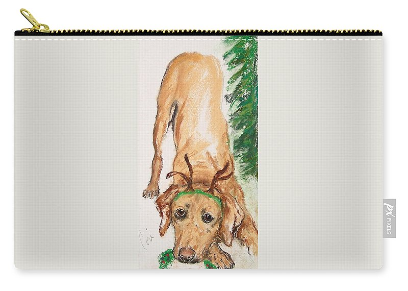 Labrador Carry-all Pouch featuring the drawing Santa's Helper by Cori Solomon