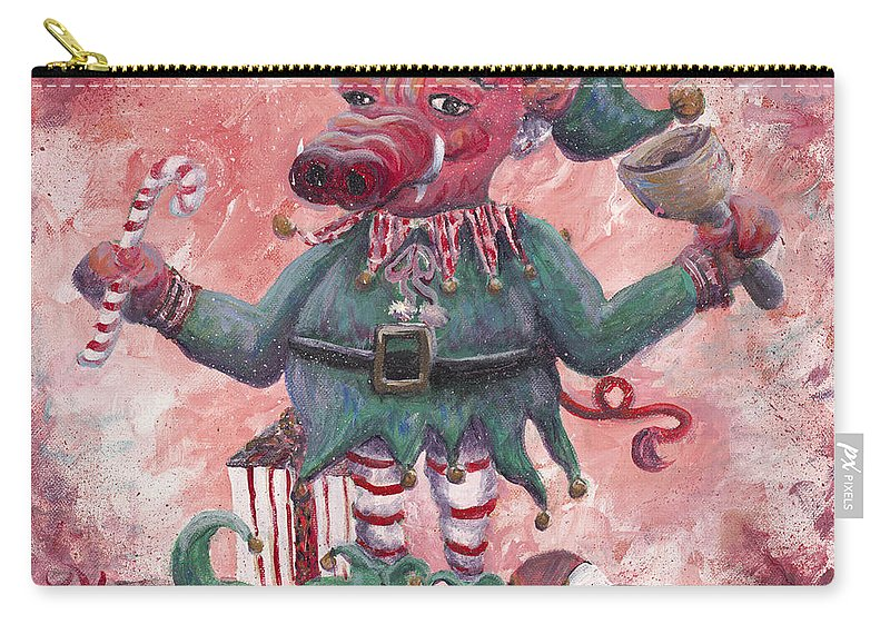 Elf Carry-all Pouch featuring the painting Santa's Littlest Elf Hog by Nadine Rippelmeyer