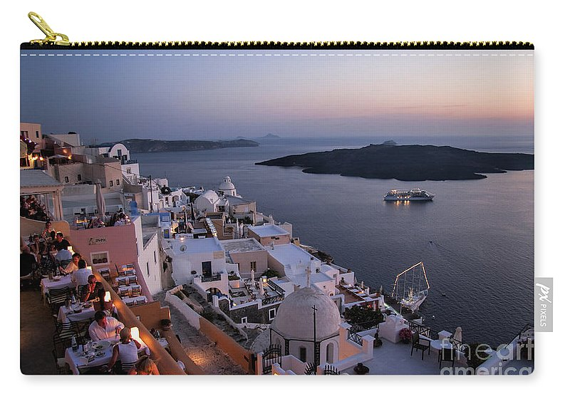Santorini Carry-all Pouch featuring the photograph Santorini At Dusk by David Smith