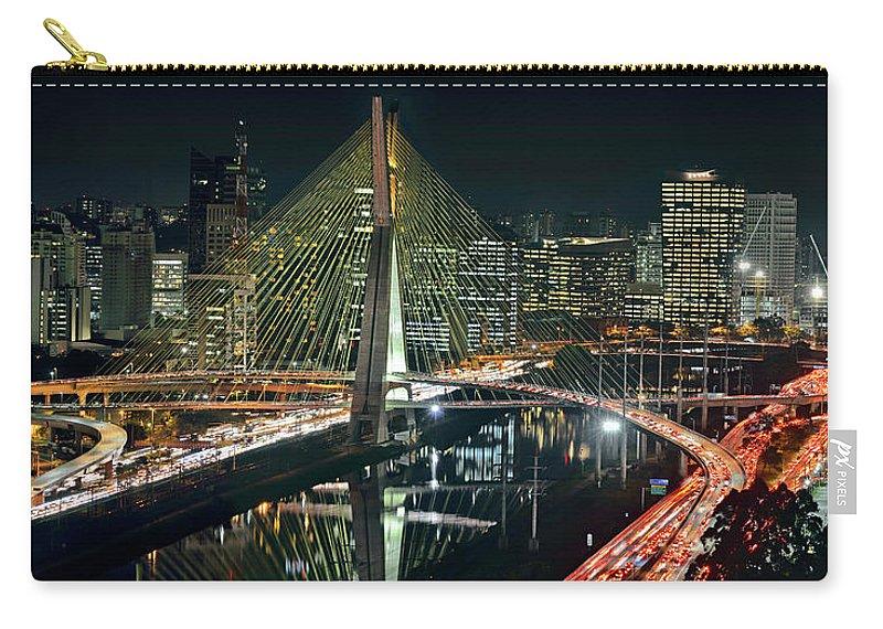 Panoramic Carry-all Pouch featuring the photograph Sao Paulo - Ponte Estaiada Sao Paulo by Carlos Alkmin
