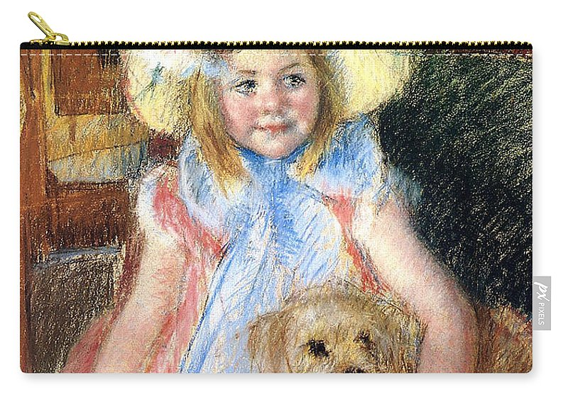 Young Girl Carry-all Pouch featuring the painting Sara And Her Dog by Mary Stevenson Cassatt