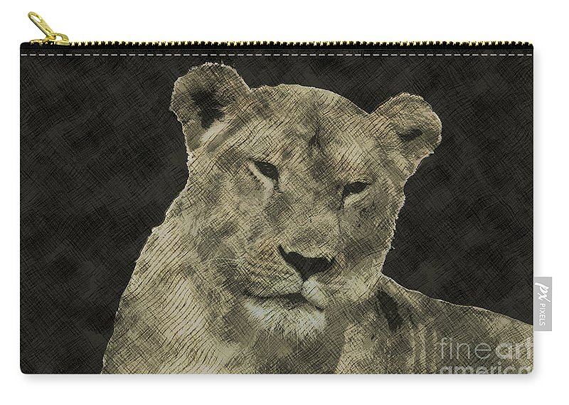 Lioness Carry-all Pouch featuring the photograph Sarafina V3 by Douglas Barnard