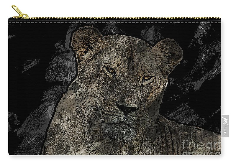 Lioness Carry-all Pouch featuring the photograph Sarafina V5 by Douglas Barnard