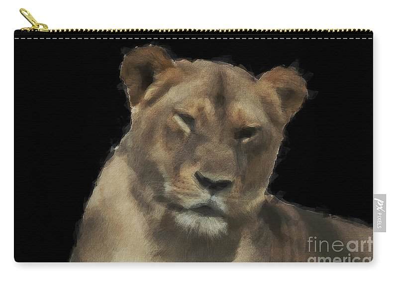 Lioness Carry-all Pouch featuring the photograph Sarafina V7 by Douglas Barnard