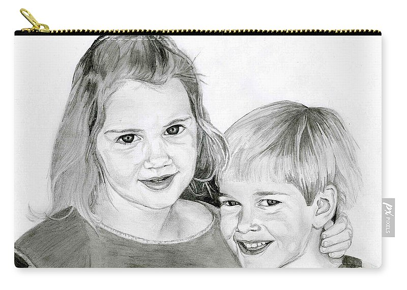 Brother Carry-all Pouch featuring the drawing Sarah And Matt by Tamir Barkan