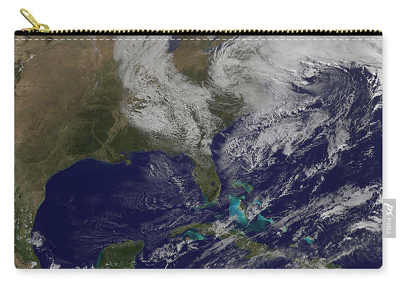 Horizontal Carry-all Pouch featuring the photograph Satellite View Of A Noreaster Storm by Stocktrek Images