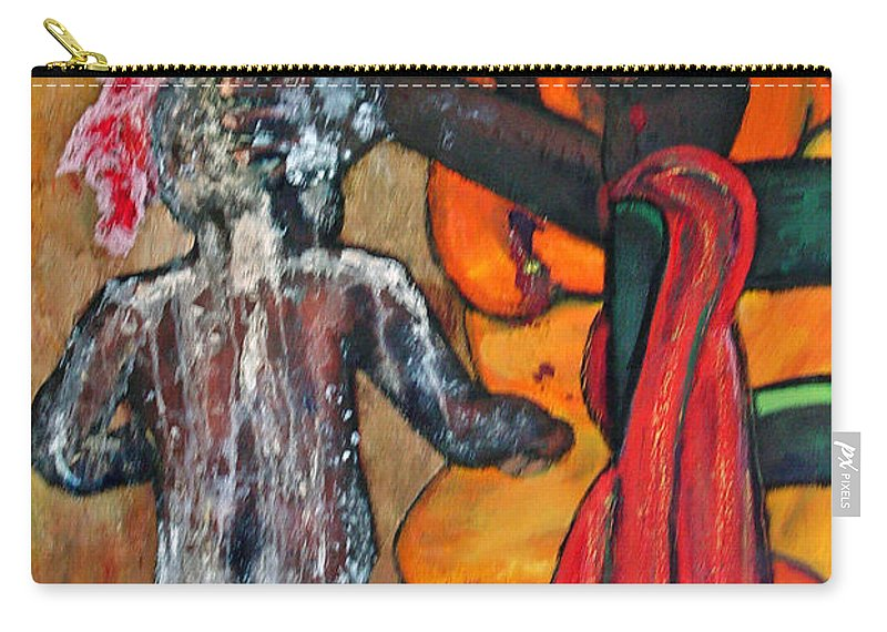 Mom Bathing Boy Carry-all Pouch featuring the painting Saturday Night Bath by Peggy Blood