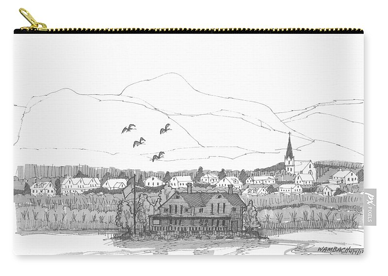 Hudson River Carry-all Pouch featuring the drawing Saugerties from Tivoli by Richard Wambach