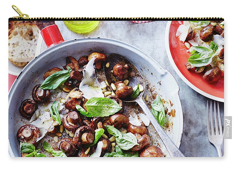 Italian Food Carry-all Pouch featuring the photograph Sauteed Mushrooms With Basil Pesto by Brett Stevens