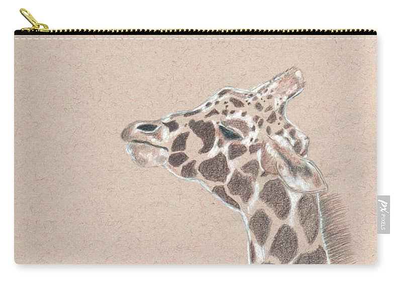 Giraffe Carry-all Pouch featuring the drawing Savannah by Crystal Hubbard