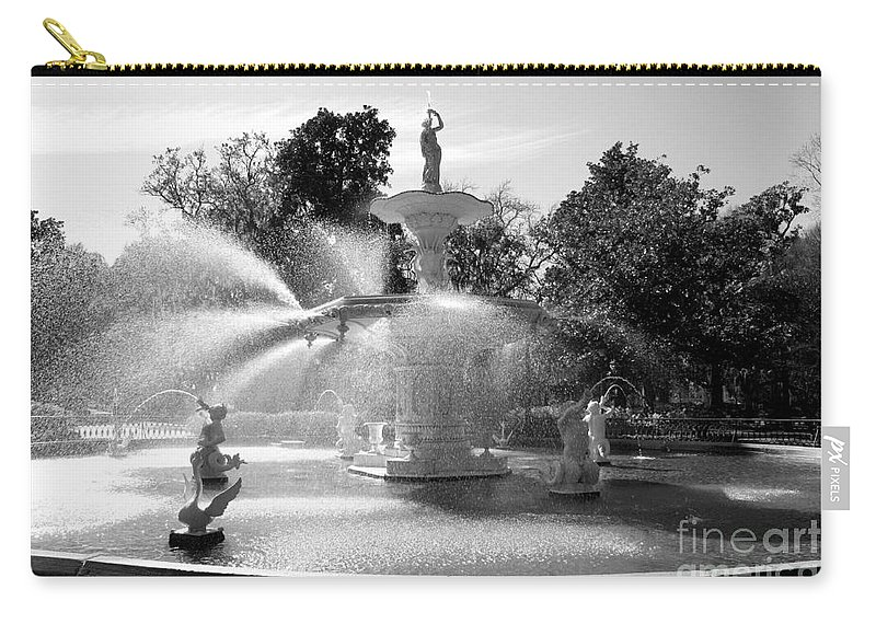 Savannah Carry-all Pouch featuring the photograph Savannah Fountain - Black And White by Carol Groenen