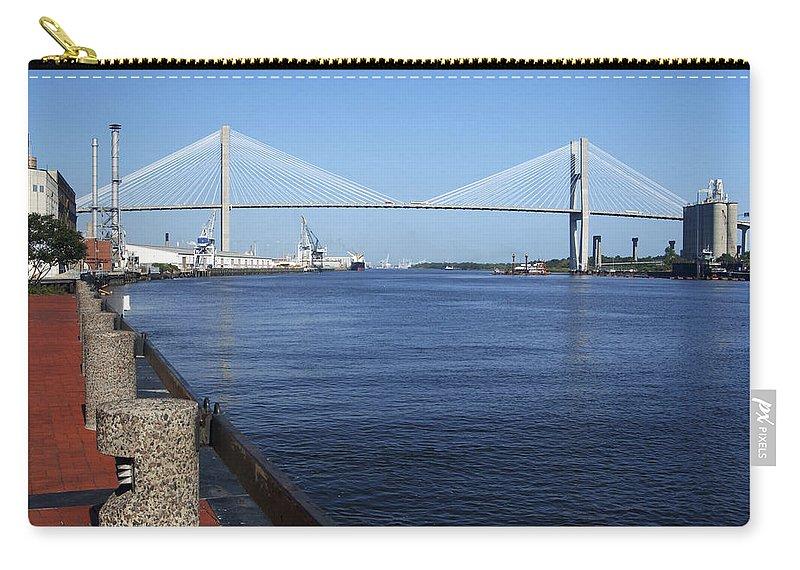 Savannah River Bridge Carry-all Pouch featuring the photograph Savannah River Bridge Ga by Bob Pardue