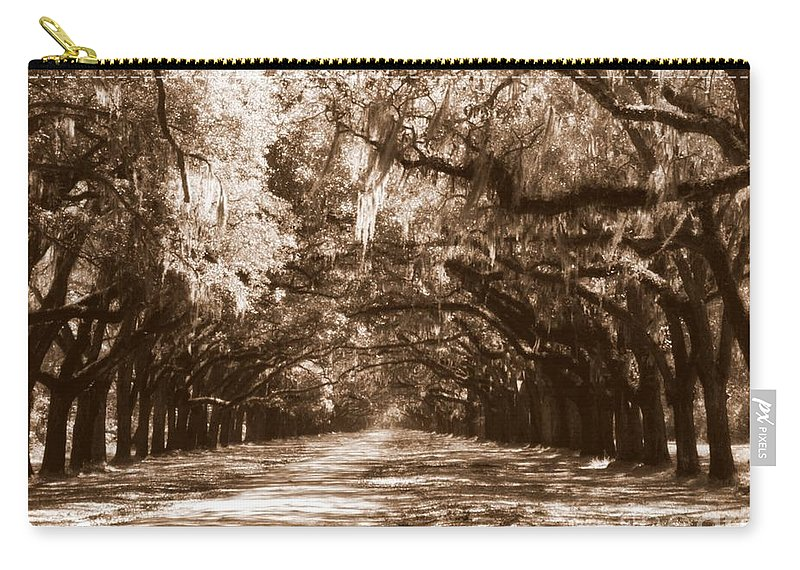 Savannah Carry-all Pouch featuring the photograph Savannah Sepia - The Old South by Carol Groenen