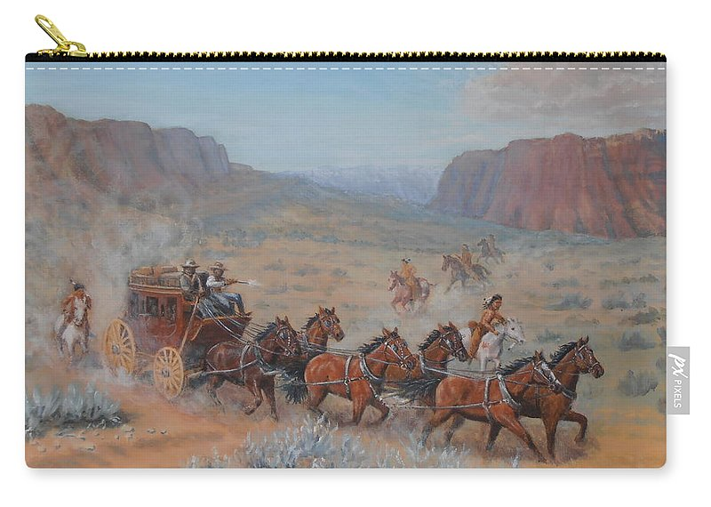 Stagecoach Carry-all Pouch featuring the painting Saving The Nigh Leader by Elaine Jones