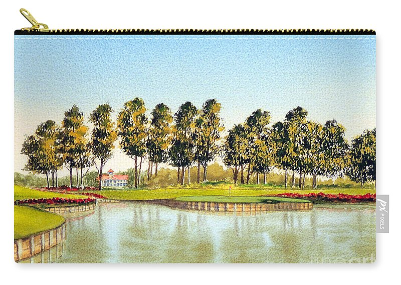 Sawgrass 17th Hole Carry-all Pouch featuring the painting Sawgrass Tpc Golf Course 17th Hole by Bill Holkham