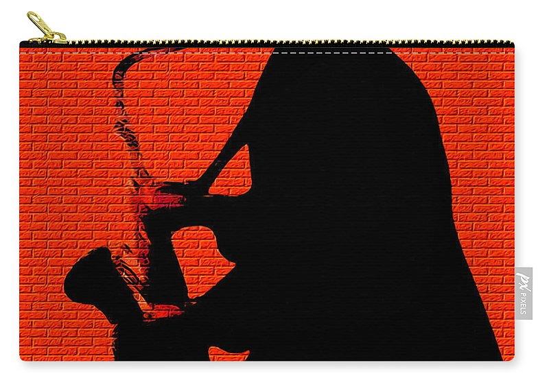 Music Carry-all Pouch featuring the digital art Sax On The Bricks by Terry Fiala