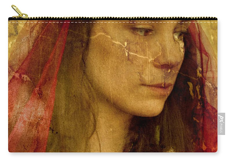 Caucasian; Beautiful; Clothing; Costume; Dress; Elegant; Female; Lady; Woman; Gown; Nobility; Old; Ornate; Period Costume; Renaissance; Vintage; Decoration; Formal; Royal; Royalty; Marble; Headdress; Broken; Brunette; Long Hair; Looking Away Carry-all Pouch featuring the photograph Scarred by Margie Hurwich
