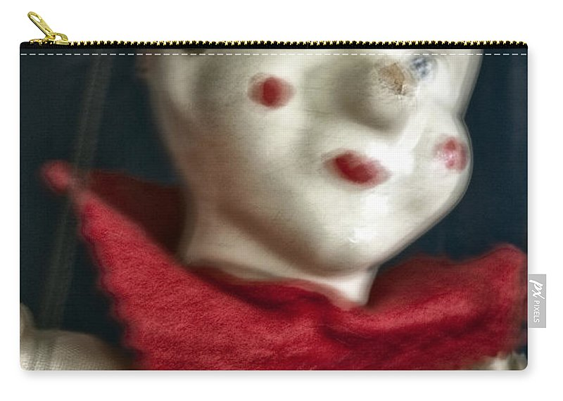 Marionette; Toy; Clown; Strings; Scary; Spooky; Blur; Blurry; Blurred; Out Of Focus; Looking Away; Old; Vintage; Broken; Cracked; Evil; Play; Puppet; Horror; Hat; Painted Face; Face; Paint; Red; Collar; Antique; Creepy; Doll Carry-all Pouch featuring the photograph Scary Mary by Margie Hurwich