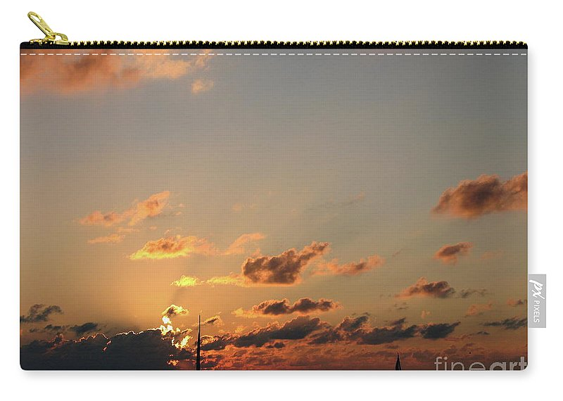 Sunset Carry-all Pouch featuring the photograph Scattered Clouds by Christiane Schulze Art And Photography