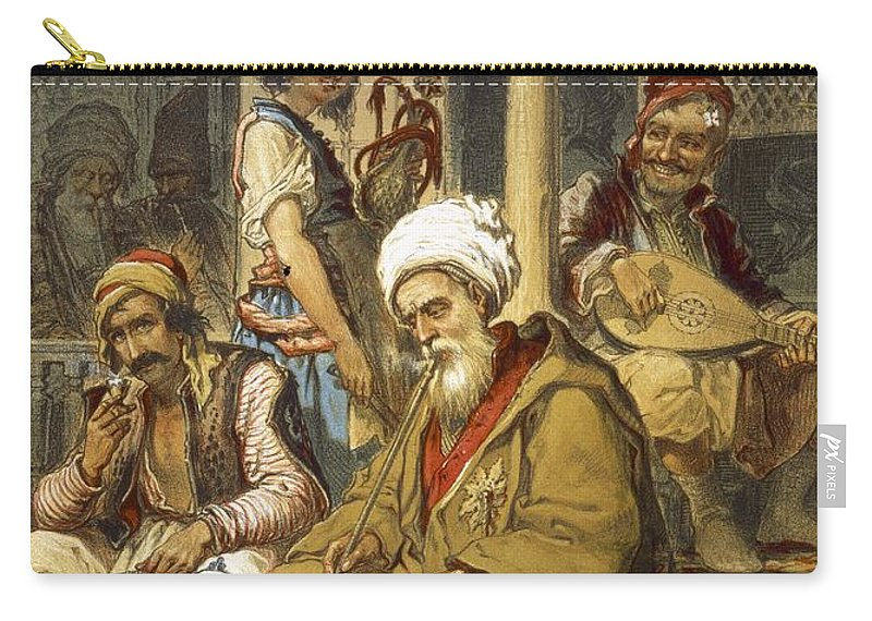 Scene Carry-all Pouch featuring the drawing Scene In A Cafe, 1865 by Amadeo Preziosi