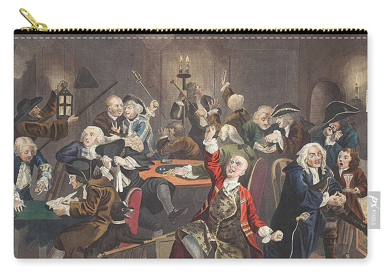 Gambling Den Carry-all Pouch featuring the drawing Scene In A Gaming House, Plate Vi by William Hogarth