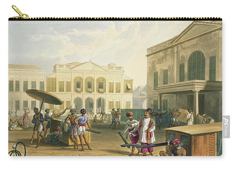 Palanquin Carry-all Pouch featuring the drawing Scene In Bombay, From Volume I by Captain Robert M. Grindlay
