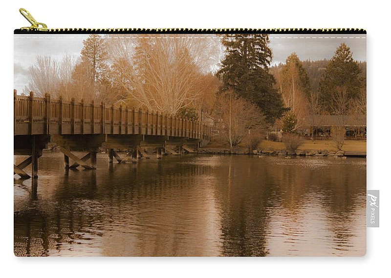 Spring Scenic Golden Wooden Bridge Photographs Photography Carry-all Pouch featuring the photograph Scenic Golden Wooden Bridge Tree Reflection On The Deschutes River by Jerry Cowart
