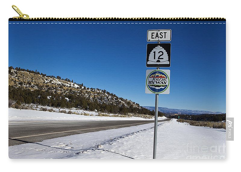 Scenic Byway Carry-all Pouch featuring the photograph Scenic Highway 12 With Snow Utah by Jason O Watson