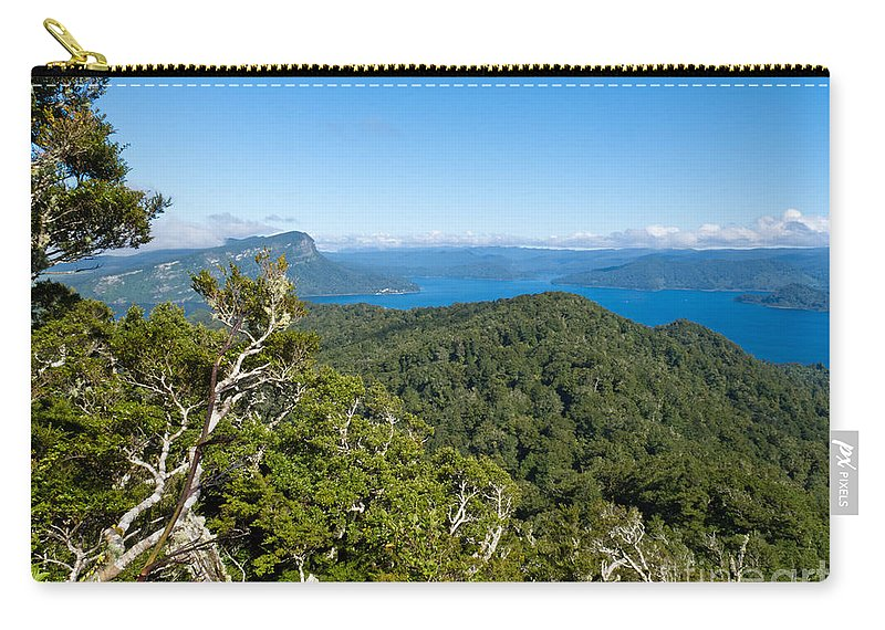 Blue Carry-all Pouch featuring the photograph Scenic Urewera Np With Lake Waikaremoana In Nz by Stephan Pietzko
