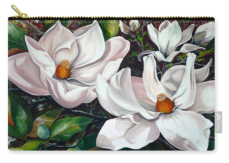 Magnolia Painting Flower Painting Botanical Painting Floral Painting Botanical Bloom Magnolia Flower White Flower Greeting Card Painting Carry-all Pouch featuring the painting Scent Of The South. by Karin Dawn Kelshall- Best