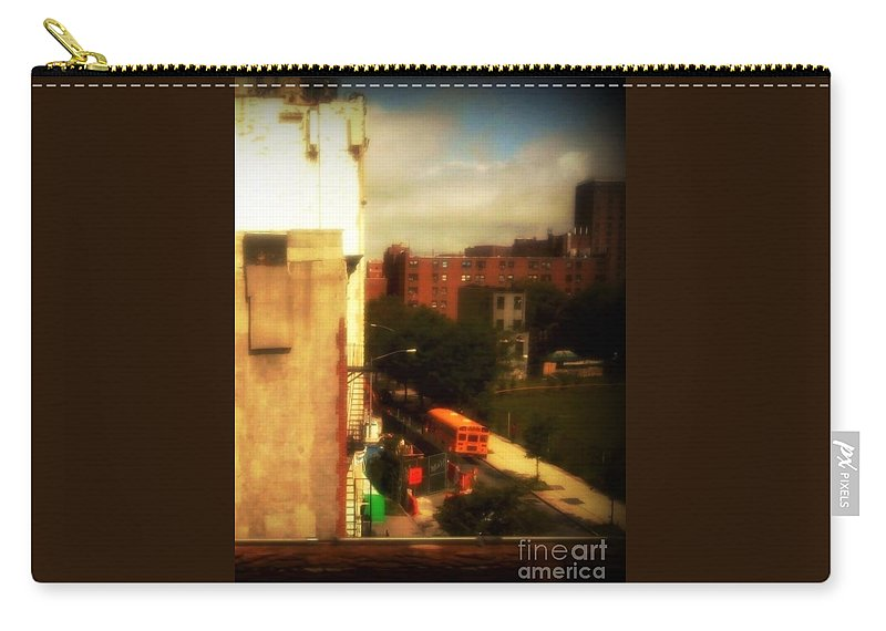 The Bronx Carry-all Pouch featuring the photograph School Bus - New York City Street Scene by Miriam Danar