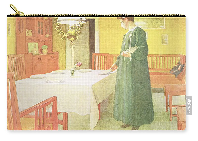 Laying The Table Carry-all Pouch featuring the painting School Household, Dining Room Scene by Carl Larsson