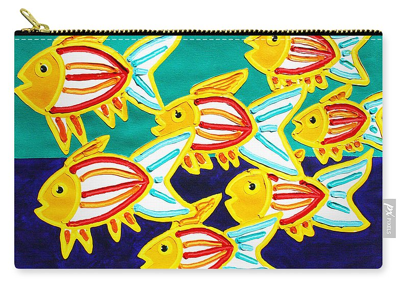 Fish Carry-all Pouch featuring the painting School Of Fish by Matthew Brzostoski