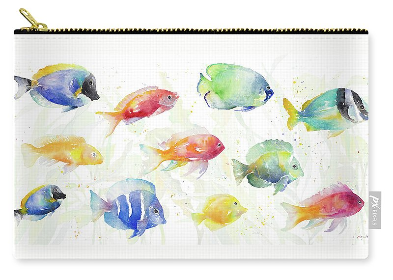 School Carry-all Pouch featuring the painting School Of Tropical Fish by Lanie Loreth
